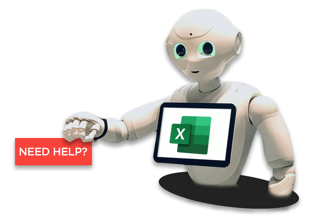 """RPA effort estimation template illustrated by a robot holding a """"need help?"""" sign."""