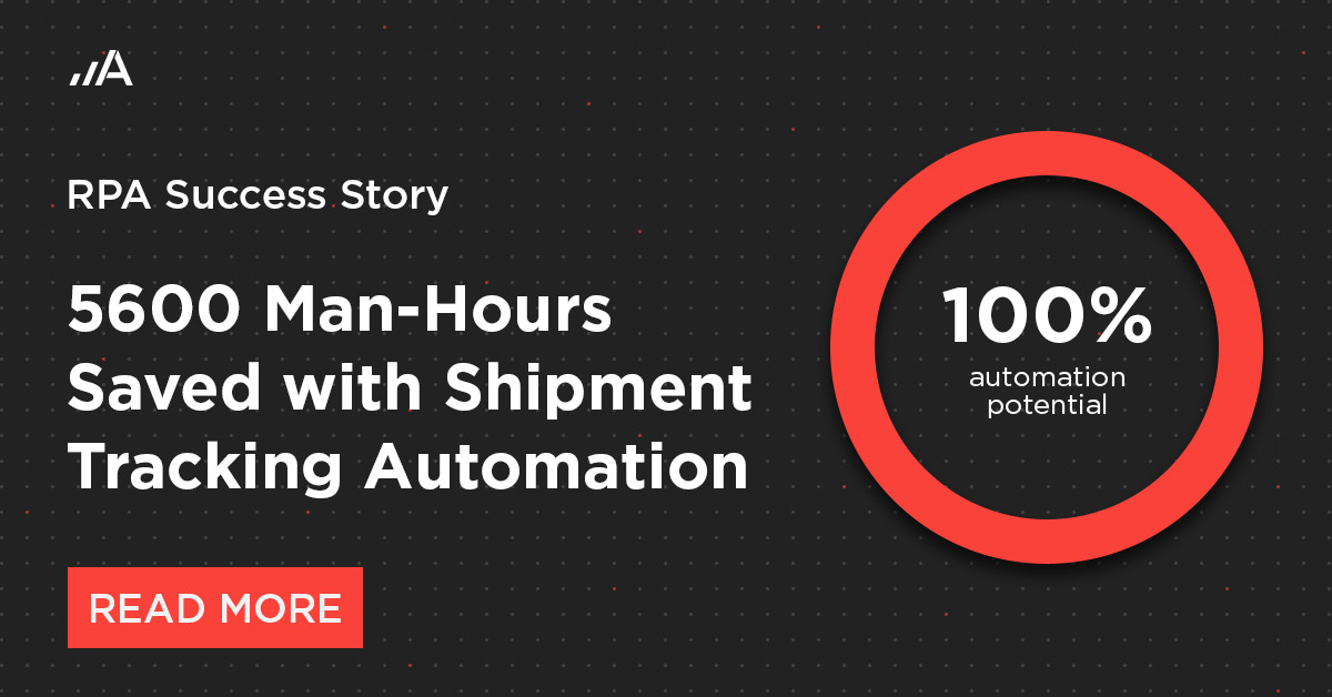 An RPA solution saved 5600 man-hours through shipment tracking automation.